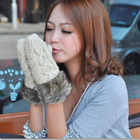 Autumn and winter fashion twisted gloves yarn knitted mitten halter-neck double female