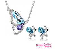 Free Shipping,6 colors factory Wholesales cryatal Love's butterflry pendant crystal Jewelry Set,fashion jewelry,B91