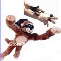Monkey Screaming Flying Slingshot Monkey Plush Toys with Music Novelty Toy Free Shipping 100pcs/lot
