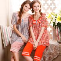 SALE Twinset 2015 Summer Women's Pajamas Sweet Lovely Sleepwear Women Knee-length Pants Pijama for Momen Lounge Set Nightgown