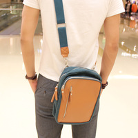 Summer denim canvas small bag casual male one shoulder cross-body sports backpack