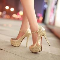 2013 Fashion Sapatos Platform Shoes Red Bottom High Heels Paillette Women's Pumps Sexy Elegant Wedding Shoes Woman