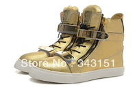New 2013 Gold/Silver GZ Sneakers For Men Fashion High-top Boots With Gold Metal Plates Zippers Shoes Free Shipping