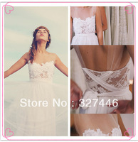 2014 New Stunning Vintage Boho White Beach Wedding Dresses Gowns Chiffon Dreamy Sashes Dreamy Illusion Neck Spaghtti Straps Lace