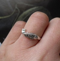 Bangkok silver thai silver handmade silver pure silver 925 vintage black stone dollarfish ring 7 - 15