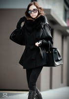 Women's Real  Fox Fur Scarf   Fashion bat sleeve woolen Coat