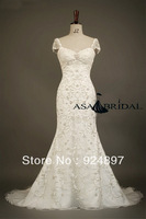 2014 New Style Sheath Embroidery Custom Made Wedding Dress 2013(WDSB-1043)