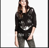New Style 2013 Spring & Autumn fashion print Cat Long Sleeve Cotton Blended Top Shirt OL Casual Blouse Free Shipping