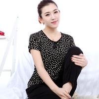 Women's mulberry silk sweater polka dot 2 staple hemming o-neck short-sleeve top