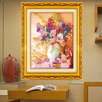 Free shipping Ribbon embroidery paintings parlor florid color ribbon stitch fragrant flowers and living room 3D printing