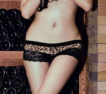Wholesale 10pcs/lot Sexy Cozy Lingerie Panties Thongs Women Underwear Black Lace Leopard Pants Fascinated Free Shipping #D4142