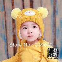 FREE Shipping 2013 New Arrival ! Lovely winter earmuffs sleeping bear children's hat,Knitting wool hat