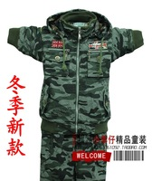 Free shipping Children's clothing sets winter male child cotton thickening plus fleece military camouflage set 115-135
