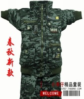 Free shipping new arrive Children's clothing spring and autumn male child medium-large camouflage military set 130 - - - 135