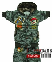 Free shipping Children's clothing sets winter male child cartoon military plus velvet thickening special camouflage 2-5