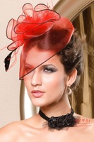 New 2013 Fashion Fascinator Flower Ostrich Feather Cocktail Hat Hair Accessories For Women Couture Headpieces Headdress WIGO0170