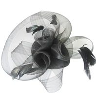 New 2013 Fashion Fascinator Flower Ostrich Feather Cocktail Hat Hair Accessories For Women Couture Headpieces Headdress WIGO0172