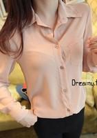 New arrival 2013 fashion solid color slim all-match unisex pocket chiffon long-sleeve shirt female