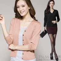 Thin solid color silky thermostat mulberry silk V-neck wrist-length sleeve cardigan plus size knitted air conditioning shirt 6