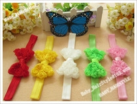 10pcs Triple Chiffon Ruffles Bowknot Butterfly Bowknots with Baby Headband Elastic Hairband Baby Girl's Hair Accessories