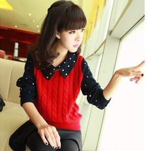 Autumn women's sweater sweet polka dot sweater pullover shirt collar faux two piece outerwear Sweaters 2013 women Fashion(China (Mainland))