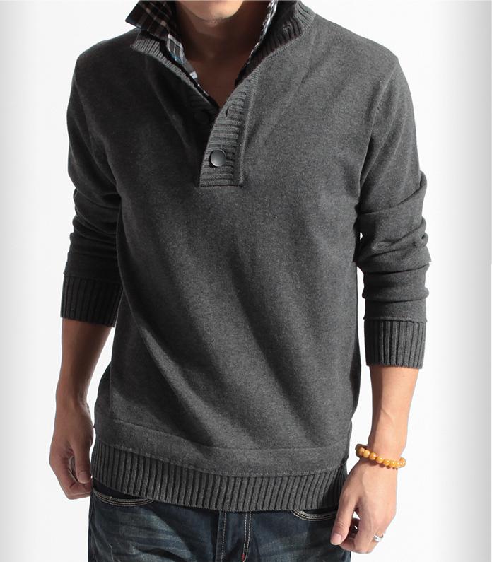 2013 METERS BONWE male sweater faux two piece male sweater shirt collar sweater male thickening Sweaters 2013 women Fashion(China (Mainland))