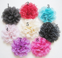 Free Shipping 50Pcs/Lot 2014 new arrival Chiffon Dot Flower (no clip) handmade DIY hair accessory for baby girls headbands