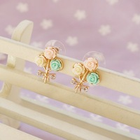 Wholesale Cheap Jewelry OL Style Gentlewomen Rose Bouquet Water Pink Series Stud Earring For Women