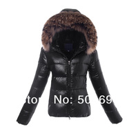 Brand Women's Hooded Down Jacket Large Fur Collar Warm Winter Parka Short Lady Down Coat Black Orange Pink Purple Gray Silver