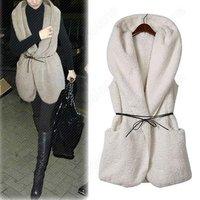 new 2013 Fashion Women's Oversized Thick Faux Fur Sheepskin Hollywood Hooded Vintage Vest Coat with Belt fur vest 2013 new vest