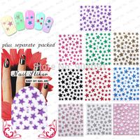 HOTSALE 50Sheet/lot 3D Star DECAL NAIL ART  STICKER NAIL DRESSING FOR NAIL ART,10 design+individually packaging