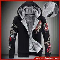 2013 Winter Mens New fashion Plus velvet Hoodies men's Chinese dragon cardigan sweatshirt Zipper Warm coat outwear big size C530