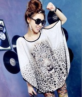 Ultralarge mm loose leopard head large batwing sleeve casual loose short-sleeve summer women's T-shirt 2013