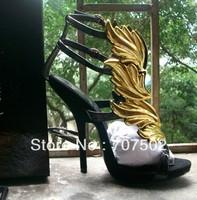 2013 women black Design gold leaf embellished high heel pumps wings ankle strap sandal bootie