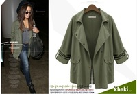 Free Shipping 2014 Autumn and Winter women's fashion army green frock coat leisure temperament size jacket coat with buttons