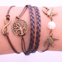 Min order 10usd ( mix items ) 61Q30 Fashion Vintage Infinity Cross bird tree Leather Multilayer bracelet jewelry