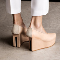 New arrival 2014 hm other stories elevator platform heel leather cutout single shoes