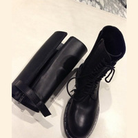 2014 autumn and winter ann demeulemeester genuine leather strap martin boots two ways