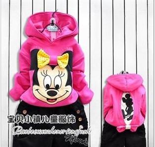 8 SIZE Retail Children's clothing kids spring and autumn female girls 2013 sportswear set cartoon Mickey Sport suit coat+pants
