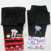 Children's clothing female child legging black cake laciness decorative pattern