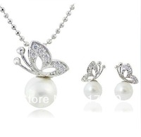 Silver/Gold Plated Clear Rhinestone Crystal Jewelry Butterfly and Pearl Pendant Necklace and Earrings Jewelry Set