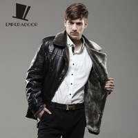 2013 New men's genuine sheepskin leather cotton coat for winter mandarin fox fur collar jacket male's plaid pattern outerwear