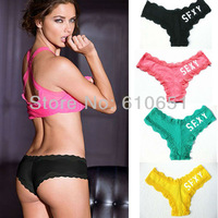 5/lots Free Shipping Top Quality Victoria VS Panty Underwear lady's Sexy Underwear Lace cotton panties