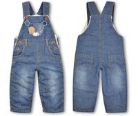 Retail 2014 Warm Children thickening Plus velvet girls baby overalls trousers children's long denim pants Size:9M-3Y