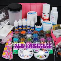 Free shipping 2013 new hot sale PRO UV GEL NAIL KIT + 24 Powders 5 Glues FILE BLOCKS Primer Tips kits Sets 215