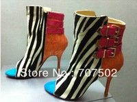 triboclou buckle multicolor peep toe ankle bootie 10cm zebra women dress shoe red bottom high heels 2013 Design pumps