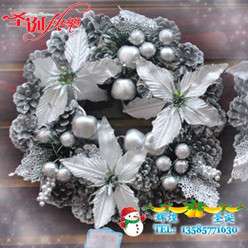 Christmas decoration christmas wreath pinecone garishness christmas decoration christmas 30cm silver garland(China (Mainland))