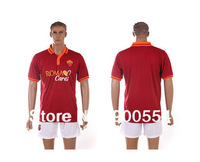 Roma home red wine Soccer Uniforms 2013/14high quality Embroidery  Logo Soccer football kits (Shirt with shorts ) free ship