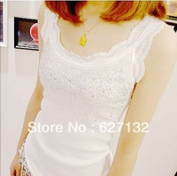1pcs Fashion Tops Sleeveless T Shirts Women Lace Vest Singlets Summer 100% Cotton Spaghetti Strap Basic Vest