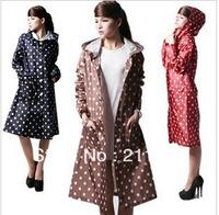 2013 split raincoat fashion dry super waterproof women's long design with a hood poncho free shipping
